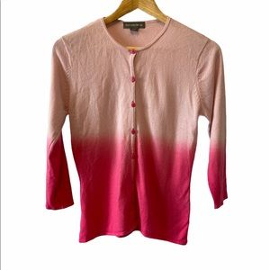 Pink Ombré Light Button Up Short Knit Cardigan M